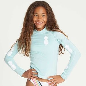 Other - Girls s pink and aqua rash guard swim shirt